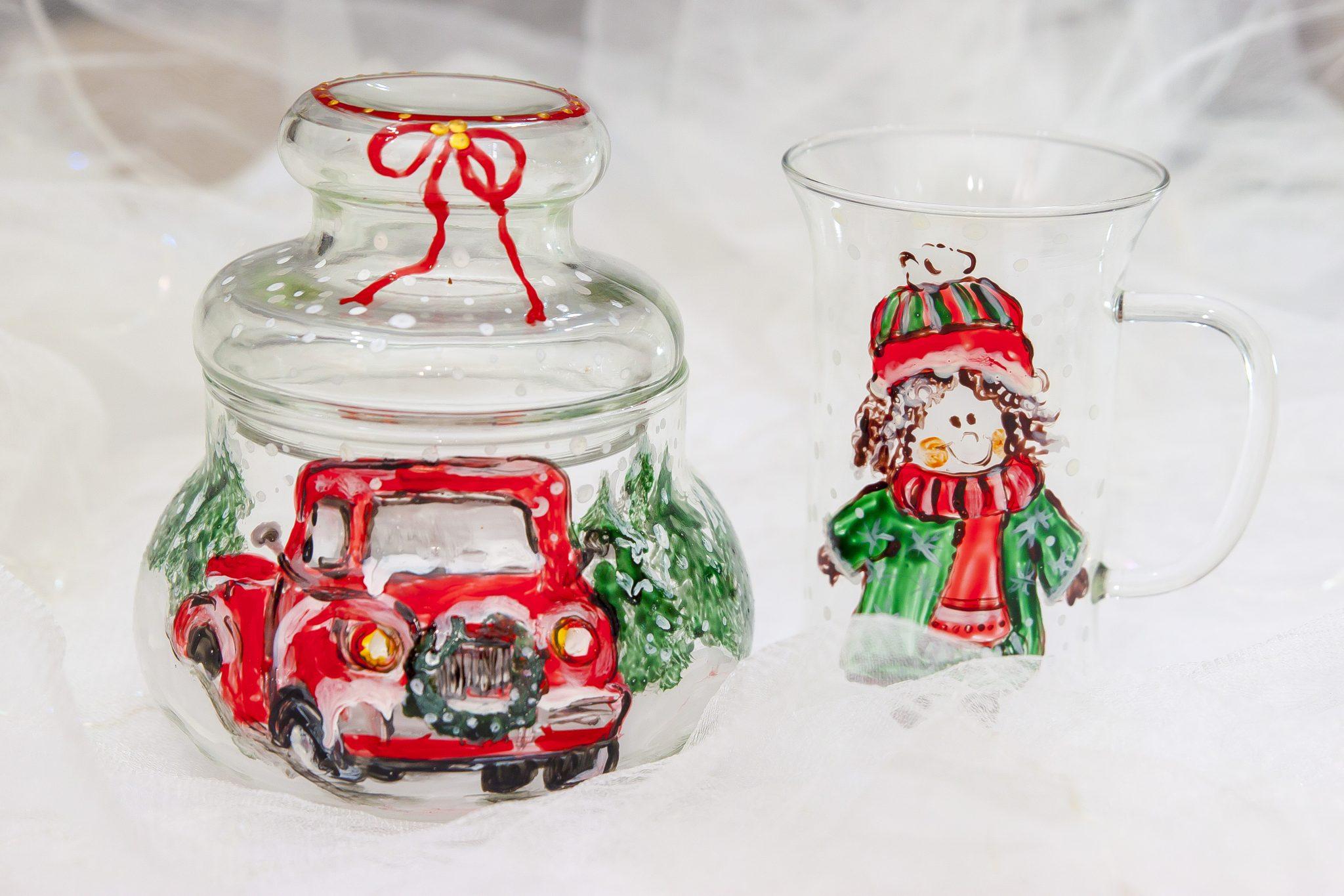 obiecte din sticla pictate manual iarna